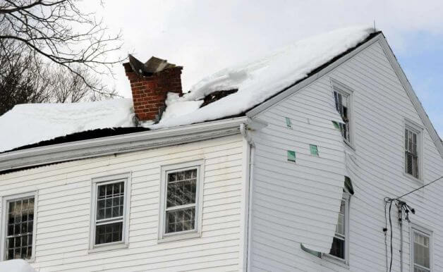 Snow Caused This Gable Roof To Cave In