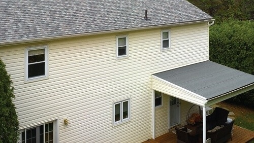 Low Slope Roofing on the back porch of a home