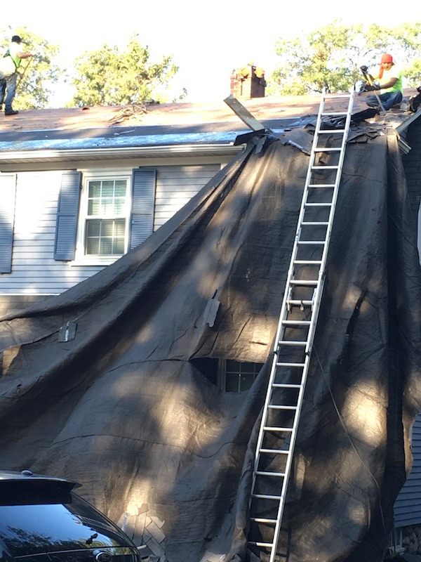 Bertwell-Road-Lexington-MA-Roof-Install-August-2016-Tarp