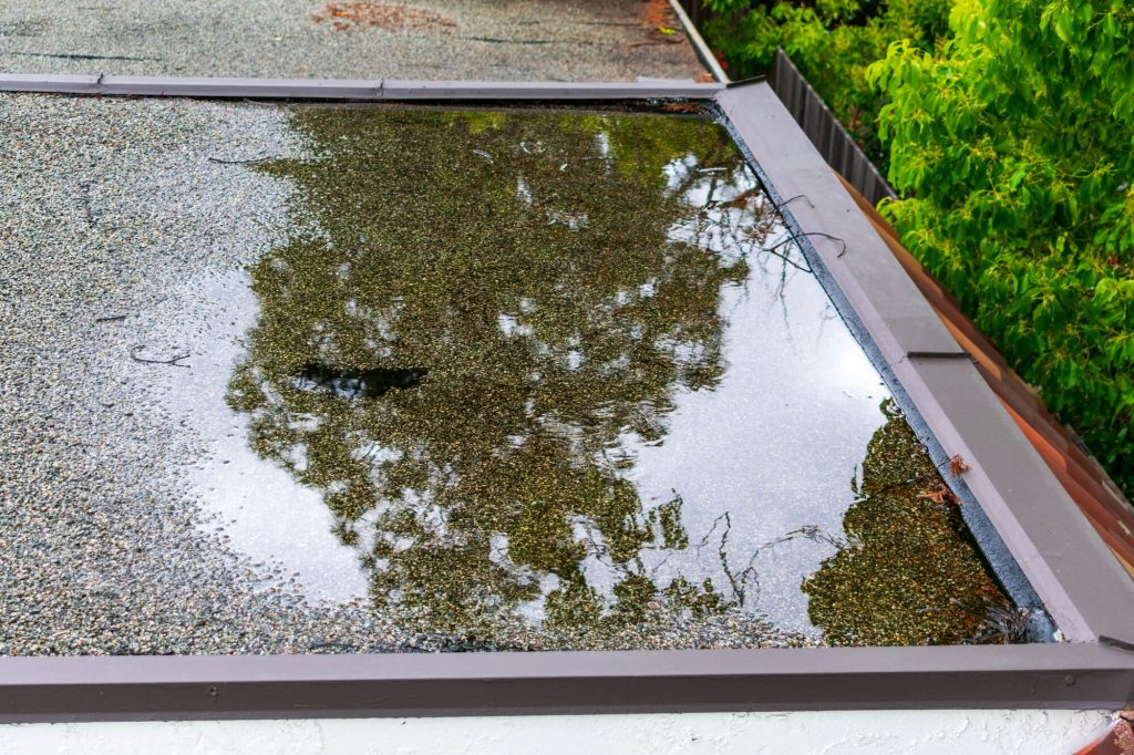 water ponding up on a tar and gravel flat roof after a rain storm