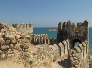 ancient castle parapet wall example